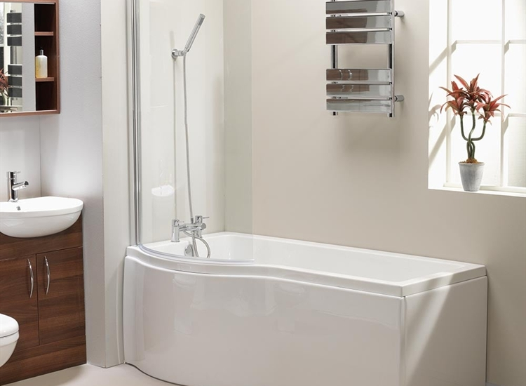 1500 Shower Baths california 'p' shaped shower bath, screen & front panel (standard