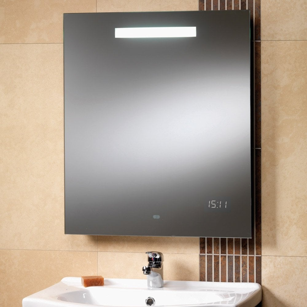 Bathroom mirror cabinets with light and shaver socket - Rania 600 X 700mm Mirror With Back Lit Light Led Clock Shaver Socket