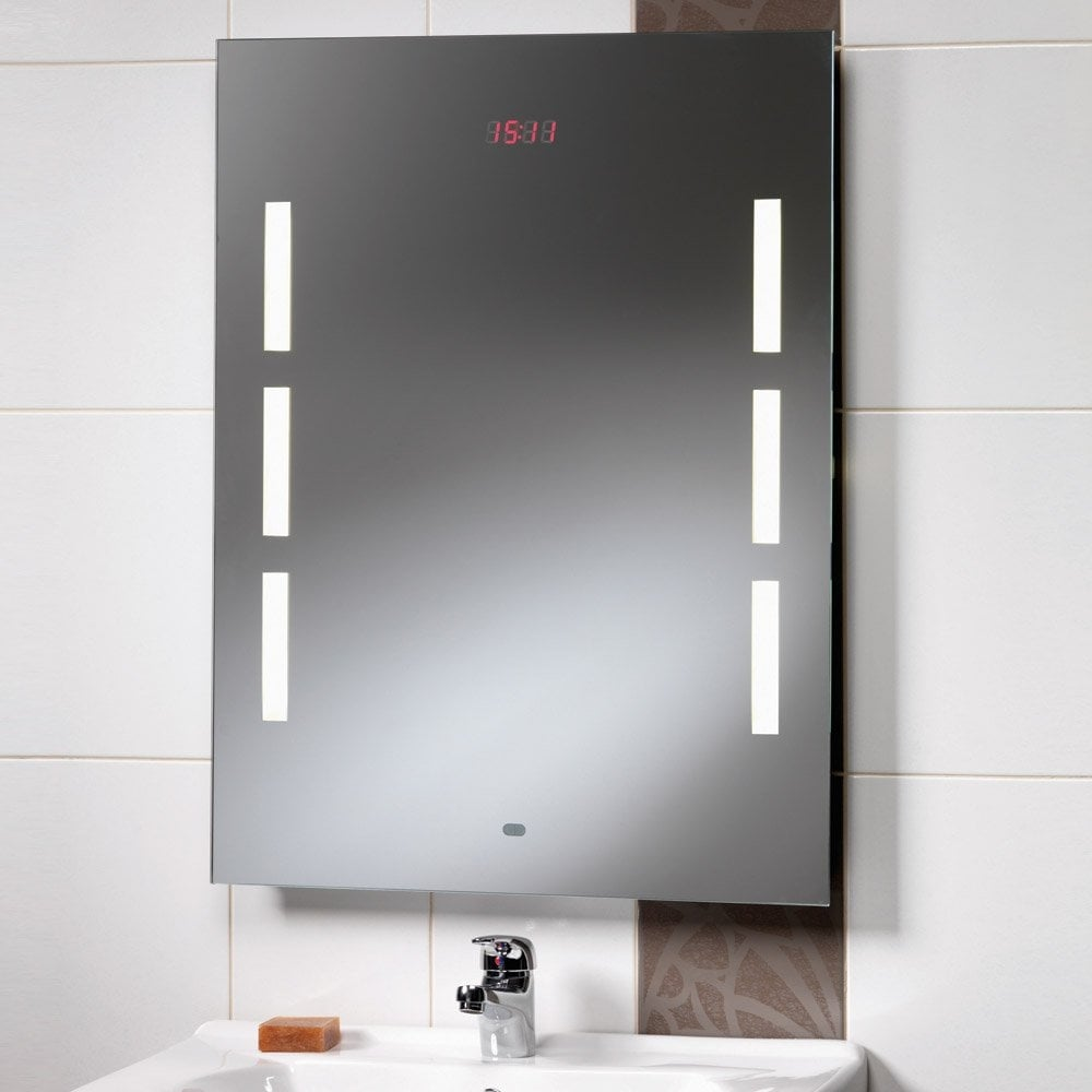mirror with integrated lighting. Crystal 600 X 800mm Mirror With Back-Lit Lights, LED Clock \u0026 Rear Anti-Mist Pad Integrated Lighting E