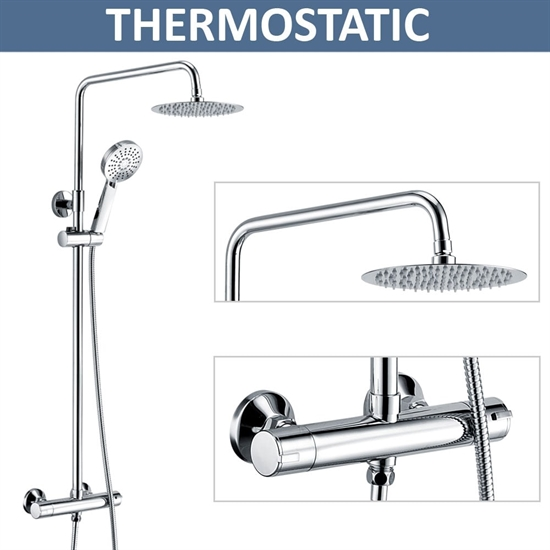Ohio Round Thermostatic Bar Shower Valve, Fixed Overhead & Slider Kit