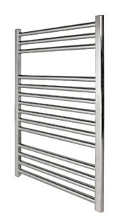 Revive Towel Rail 500 x 1000 Chrome Flat Including Solid Chrome Valves
