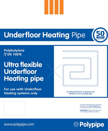 Polypipe Underfloor Heating 12mm x 80m Pipe Coil