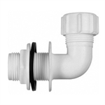 Polypipe Overflow System Bent Tank Connector Solvent White Push-Fit- VP50