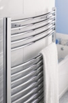 Curved Chrome 400 X 750 Eco Towel Warmer